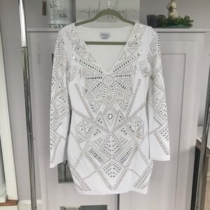 Bebe White Rhinestone Dress Size L